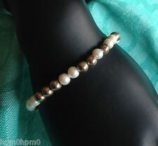 "SILPADA B2399 ""FEMININE FLAIR"" STERLING SILVER BEAD & PEARL 7.5"" TOGGLE BRACELET"