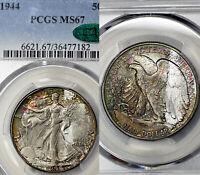 1944-P MS67 CAC Walking Liberty Half Dollar 50c, PCGS Graded, Rainbow Toned!
