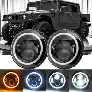 """DOT Approved Pair 7"""" Round LED Headlights Halo DRL For Hummer H1 H2 AM General"""