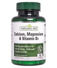 Natures Aid calcium, magnésium + vitamine D3 90 comprimés 1 2 3 6 12 Packs