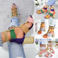 Women's Color Block Hemp Rope Wedges High Heels Peep Toe Sandals Lace-Ups Shoes