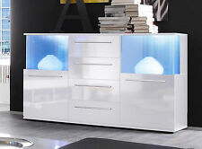Bahut Vaisselier Blanc Brillant CONSOLE SALON armoire + éclairage LED Punch