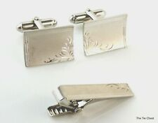 Clip Bar Silver Tone Anson Cufflinks Set with Tie