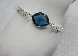 Blue Iolite Gemstone Bracelet Wide Curb Layering Stacking - 925 Sterling Silver