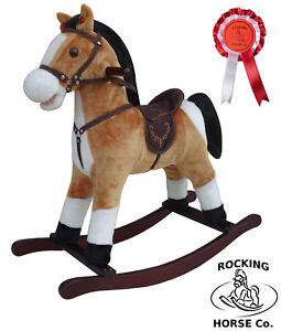 NEW Plush Brown + White Rocking HORSE - Bandana Saddle Sounds & Rosette Age 1+