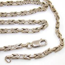 "Heavy 14K White Gold Woven Chain Link Necklace 25""  3mm QZ"