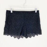 Anthropologie Elevenses Women's Size 4 Shorts Black Lace Scalloped Edge EUC