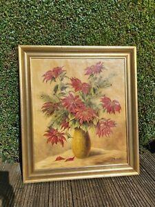 Original large framed oil painting on canvas floral flower still life Signed