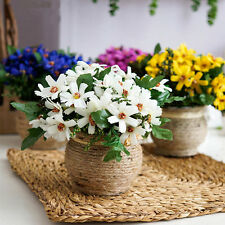 Artificial Silk Daisy Flower Leaf Arrangement In Pot For Grave Memorial Vase 1PC