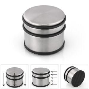 Round Chrome Metal Door Stop Rubber Floor Protector Heavy Weight Duty NEW