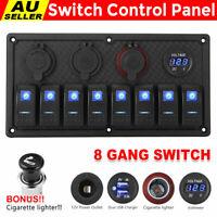 8 Gang 12V Rocker Switch Panel Waterproof Circuit Breaker Boat Marine Voltmeter