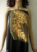 VB48 Long Floral Gold Sequined Trimming Tulle Applique Dancewear/Skating