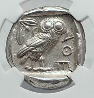 ATHENS Greece 440BC Ancient Silver Greek TETRADRACHM Coin Athena Owl NGC i80944