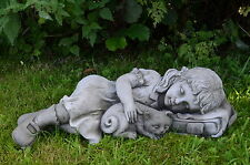 GIRL and CAT Garden Statue Hand Cast Stone Ornament Home Patio Decor ⧫onefold-uk