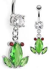 Navel Ring 316L Surgical Steel [Jewelry] Belly Button Ring Crystal Frog Dangle
