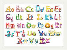 ALPHABET NURSERY FUN PRINT ABC  ..A4 POSTER PRINT CHILDRENS ROOM EDUCATIONAL