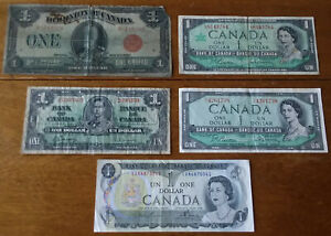 CANADA 1923-1973 Lot of 5 Different $1 Bills Incl. Pick 33b Large Size Red Seal