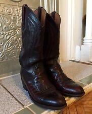 Lucchese Western Cowboy Boots Cherry Black Leather 9D Men's/10.5D Women's