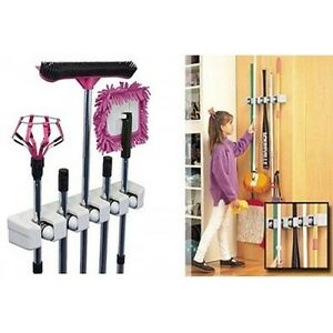 Wall Mount Magic Mop and Broom Holder Hanger Cleaning Tool Organizer 5 Holders