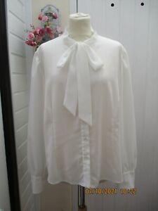 ROMAN ORIGINALS cream/ivory chiffon/sheer long sleeve tie front blouse size 22