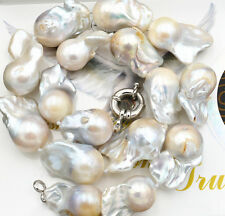 New Real 15x19mm Natural South Baroque White Akoya Pearl Necklace 18""