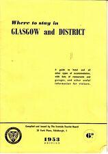 Where to stay in Glasgow and District 1953 Scottish Tourist Board Bklt Scotland