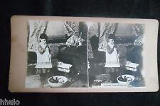 STB696 Scene de genre Un cas évident de suicide stereoview photo STEREO albumen