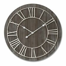 Brown Washed Wooden Wall Clock Round Silver Metal Roman Numerals 68cm