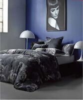 La Rosa Charcoal Duvet Doona Quilt Cover Set by Linen House | White Rose | Queen
