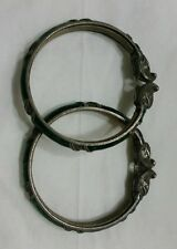 PAIR ANTIQUE INDIA MUGHAL INDIAN SILVER BRACELET BANGLE 59 GR.