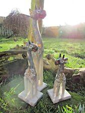 Fair Trade Hand Carved Made Wooden Grey Giraffe Set Of 3 Sculptures Ornaments