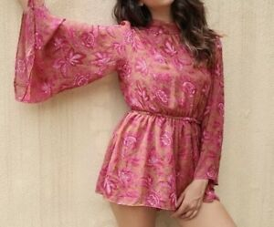 Gorgeous Brand New Pink Floral Free People Playsuit Romper Size S 8