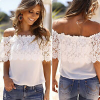 Women Off Shoulder Lace Chiffon T Shirt Summer Party Casual Blouse T-shirt Tops