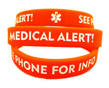 Adult Red Medical Alert! See Phone for Info Silicone Bracelet (Lot of 2)