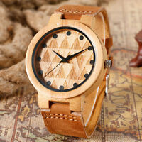 Nature Wood Bamboo Triangle Dial Carving Genuine Leather Band Strap Wrist Watch