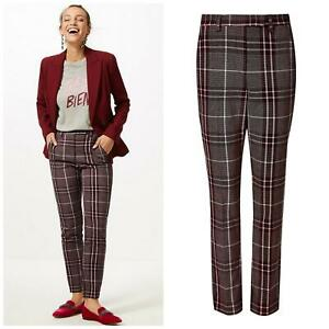 M&S Marks Spencer Womens Plus Size Plum Pink Tartan Check Ankle Grazer Trousers
