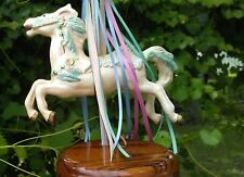 Carousel Ceramic Horse Wind Up Music Box Wood Stand