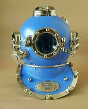 Antique Blue Scuba Diving US Navy Boston Mark V Deep Sca Vintage Divers Helmet