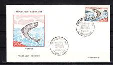 Gabon    enveloppe 1er jour faune poisson tarpon   1964