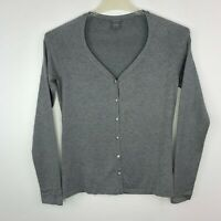 Ann Taylor Silk Blend Knit Top Small Gray Scoop Neck Button Front Long Sleeve