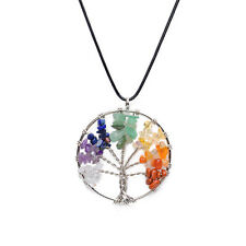 Wisdom Tree Necklaces Gemstone Citrine Amethyst Natural Stone Pendant Necklace