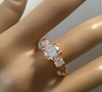 Vintage Jewellery Gold Ring with White Sapphires Antique Deco Jewelry large 9 S