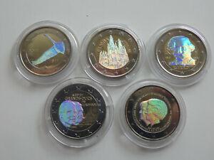Europa 5 x 2 Euro 2011-2013 Farbgeld Hologramm Lot 5 Münzen (11