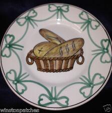 """WILLIAMS SONOMA GRANDE CUISINE PORTUGAL PLATE 7 7/8"""" GREEN BOWS BREAD IN BASKET"""
