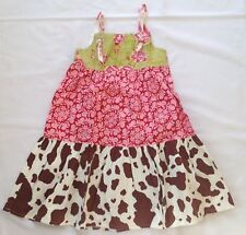 Girls Etsy boutique dress resell tiered twirl knot dress floral cow print 6