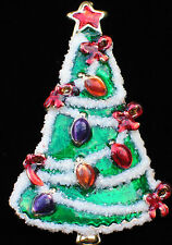 "GLITTERY ENAMEL CHRISTMAS TREE GARLAND LIGHTS BOW PIN BROOCH PENDANT JEWELRY 2"""