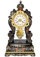 PENDULE MARQUETERIE Kaminuhr Empire clock bronze horloge antique cartel portique
