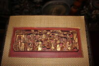 Antique Chinese Wood Carved Panel High Relief Religious Spiritual Men Horse