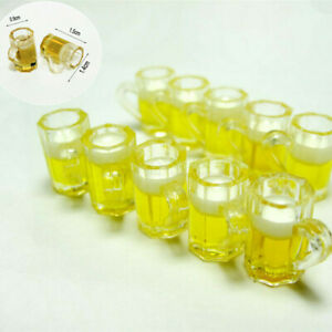 Miniature Dolls House Kitchen Beer Glass Food Drink Cups Mug Bar Decor 1:12 10pc