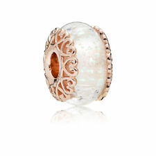 PANDORA Rose Charm Iridescent White Glass 787576